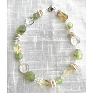 NWT Green quartz rock crystal coin pearl necklace